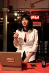 Anna, our intrepid intern who helped organize the event, as Mia Wallace, the Uma Thurman character in Pulp fiction.